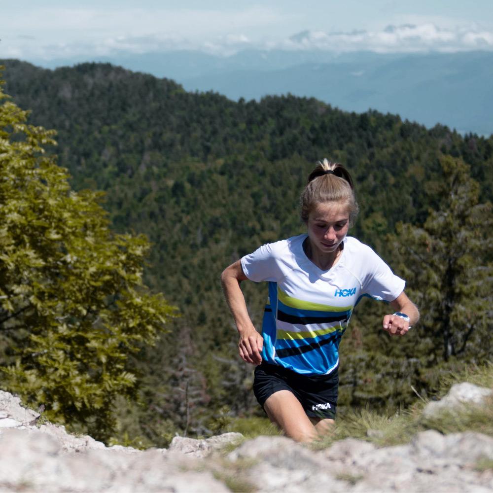 Mathilde running up the mountains