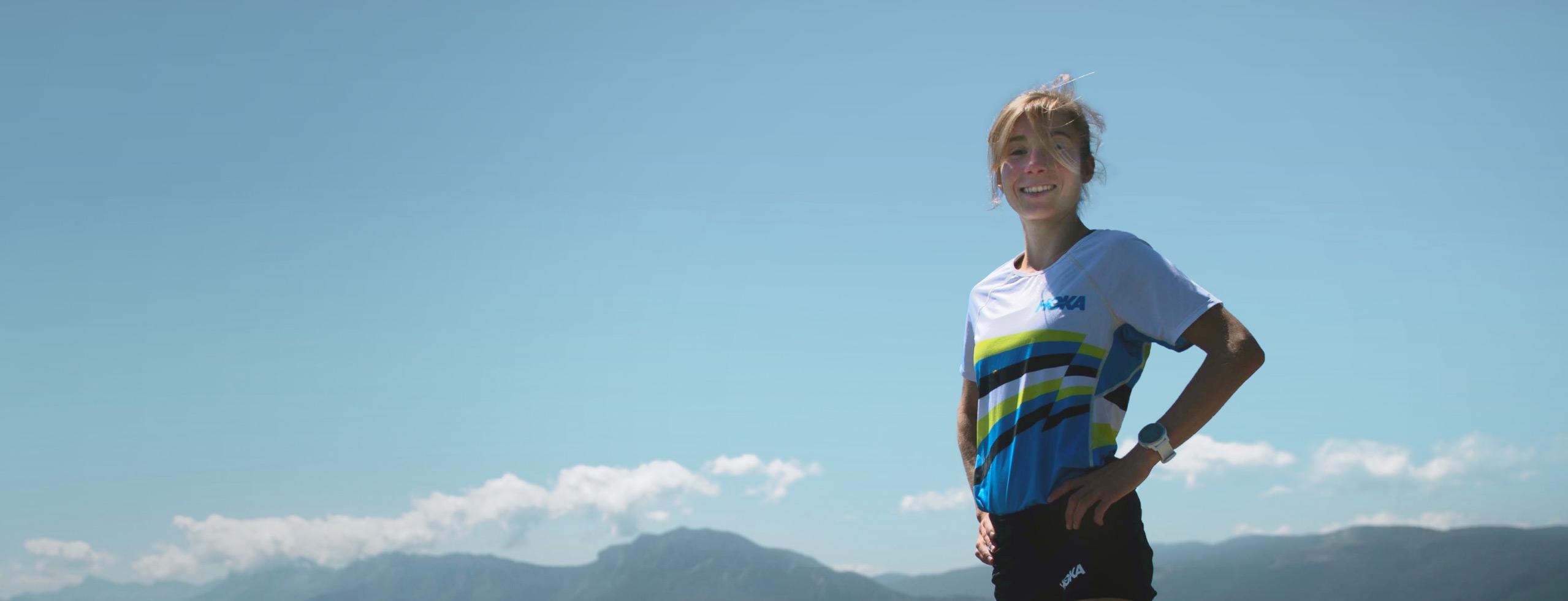 Mathilde Sagnes smiling wearing HOKA