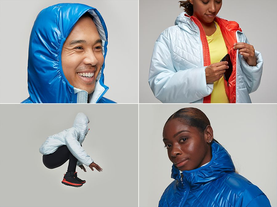 Four Images of people wearing the HOKA Puffy Jacket