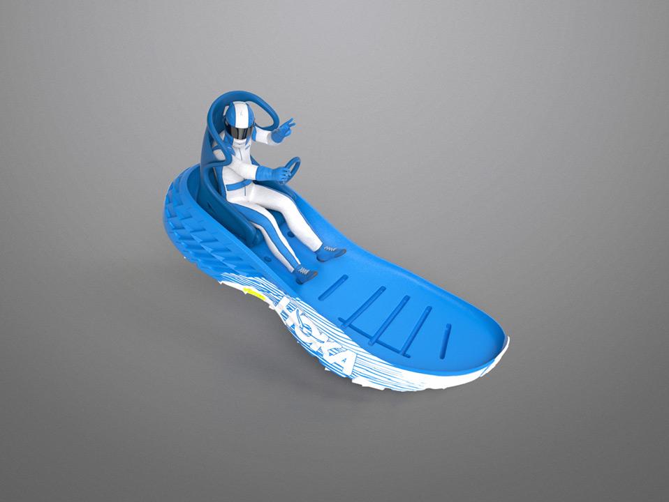 An image of a tiny racing man inside a hoka shoe