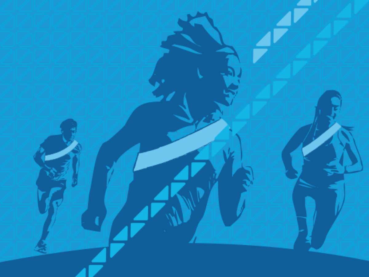 Blue artwork of people running