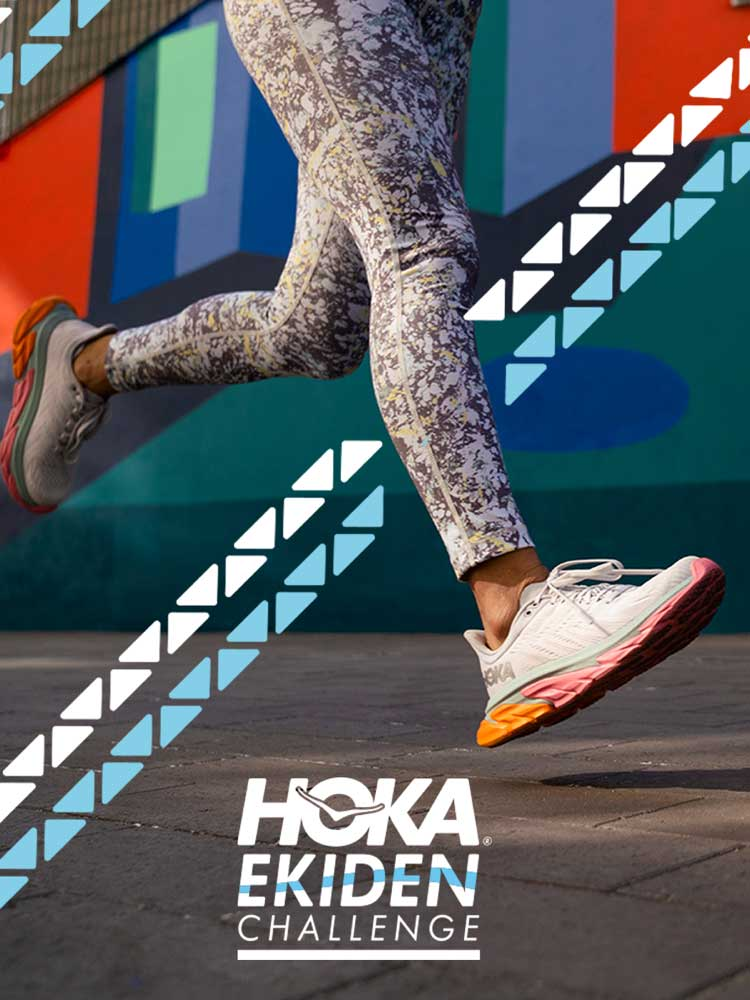 Person running in their Hoka sneakers