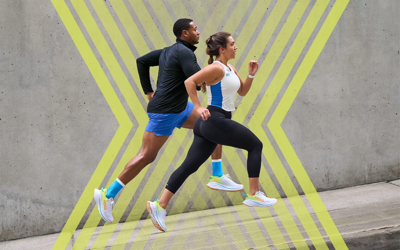 Runnning couple wearing Bondi X shoes.